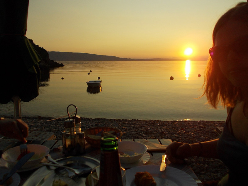 dinner on the beach at sunset: life can be sweeet! near Senj, Croatia