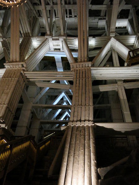 Salt mine roof supports