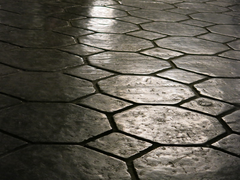 Solid salt rock floor with tile pattern cut out