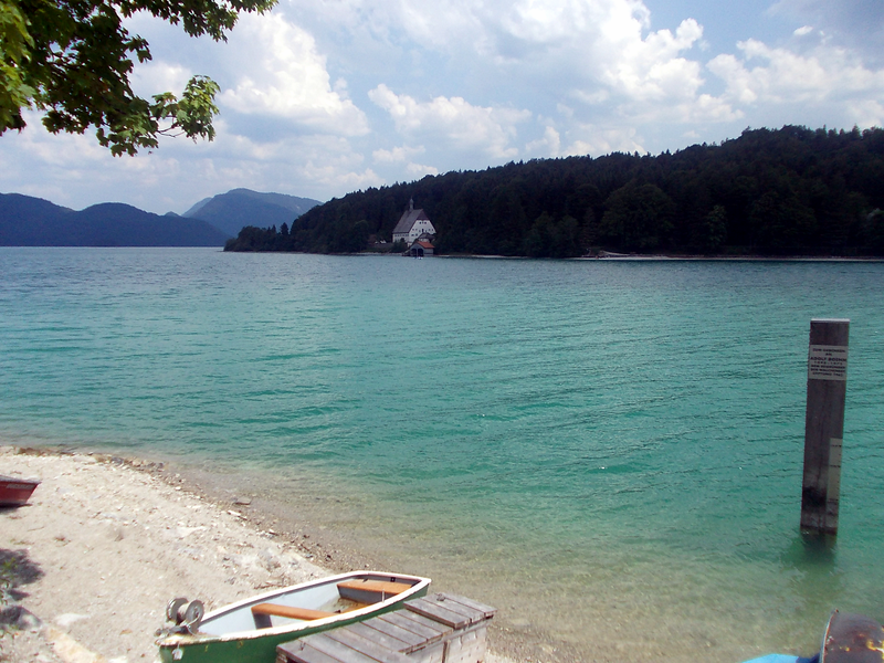Walchensee. Thanks to Thomas for the tip and our first of many sights of gorgeous blue water!