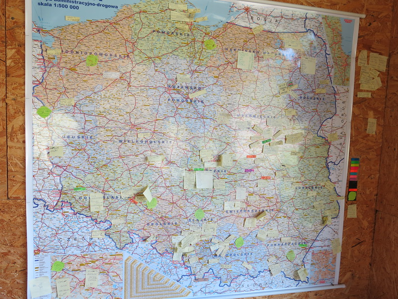 Polish map with all visitors