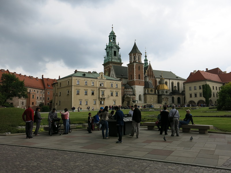 Park inside Wawel castle with a view on the Cathedral