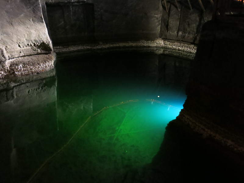 Lake inside the salt mine, created especially for the tourist visitors