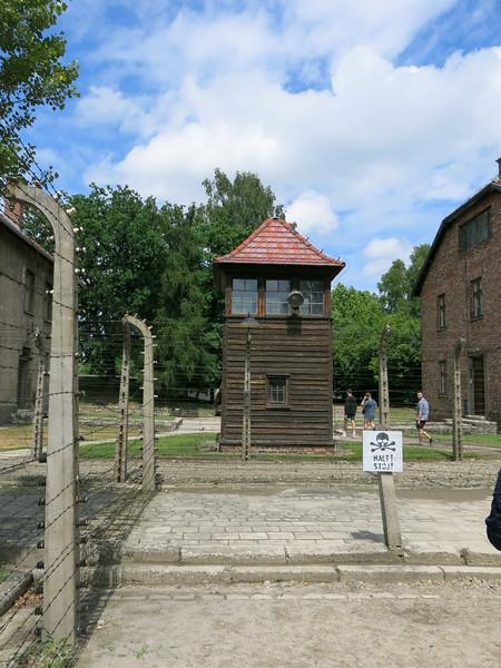 Watchtower at the far end of the camp, in front of the first gas chamber