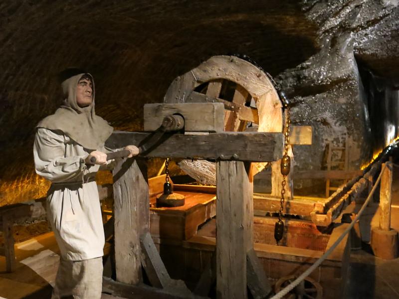 Piston driven water pump in the Wieliczka Salt Mine