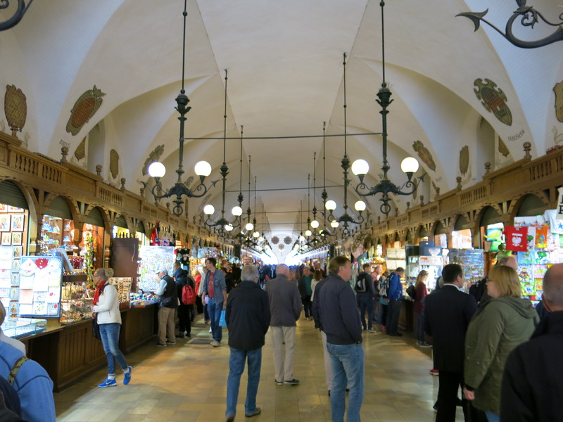 Tourist shops inside the cloth hall