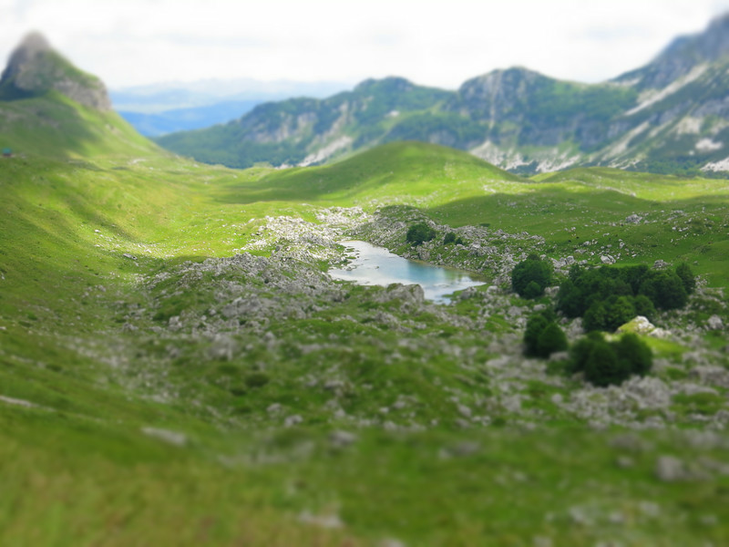 Miniature effect of a mountain lake