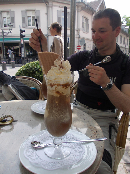 enjoying a huge Eiskaffee in Baden-Baden, Germany