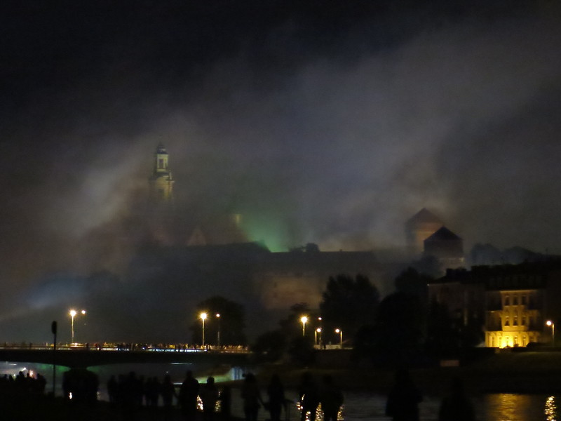 Wawel castle in the smoke after fireworks