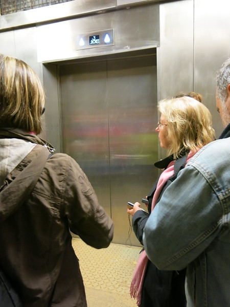 Taking the elevator back up to the surface