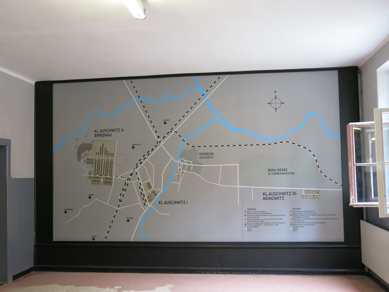 Overview map of the different camps at Auschwitz: Auschwitz I, Auschwitz II Birkenau and Auschwitz III Monowitz.