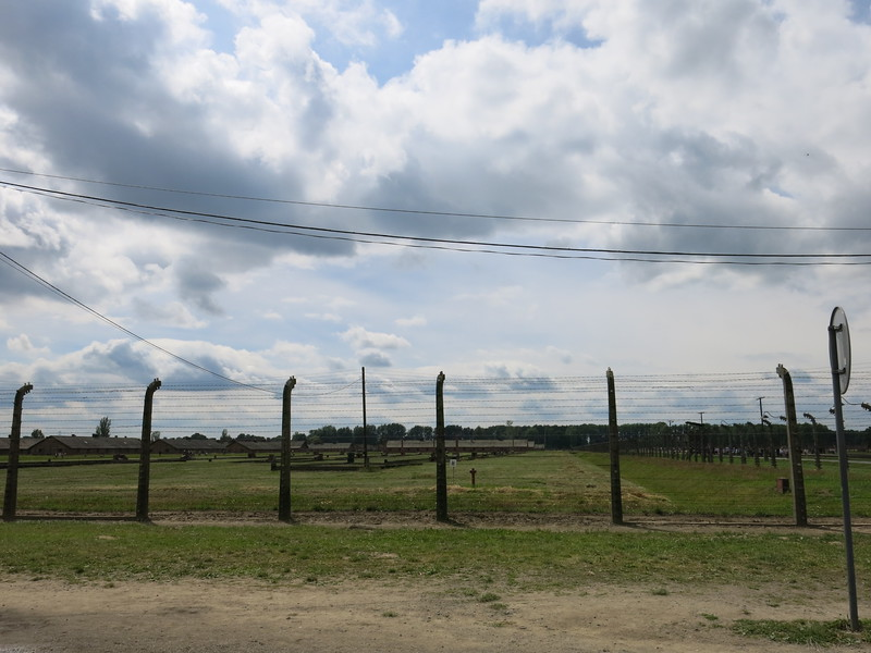 View on Auschwitz II Birkenau: endless rows of barracks or what remains of them.