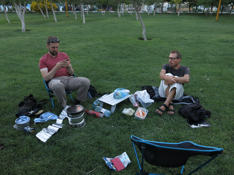 Retho and Jo hanging out on the free camp site in Tabriz