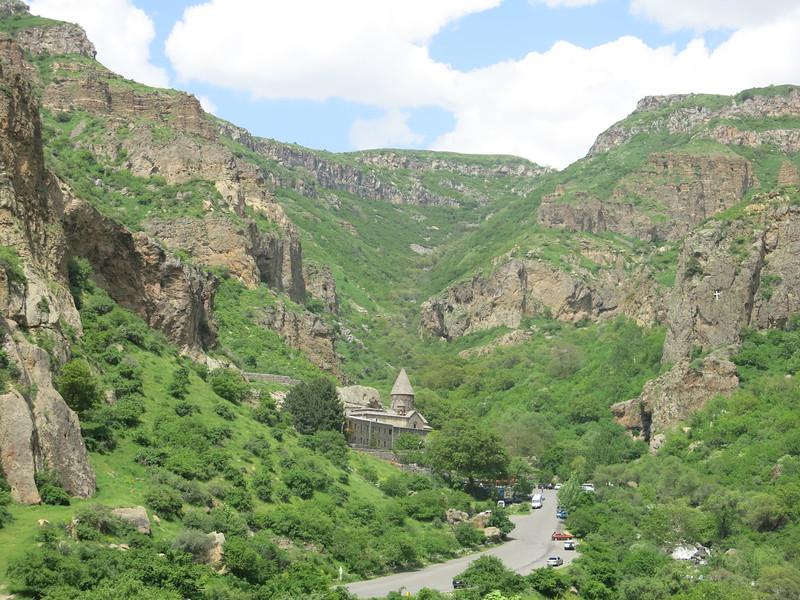 Geghard Monastery overlooking the valley