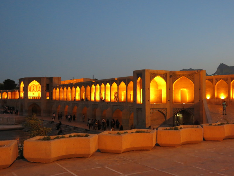 Night view of one of the many bridges in Esfahan