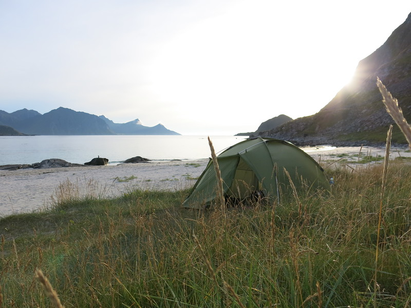 Camping on Haukland beach