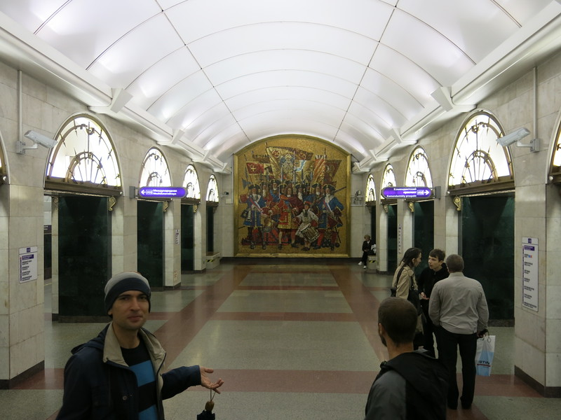 Our guide Vlad explaining about the mosaics at Admiralteyskaya metro station