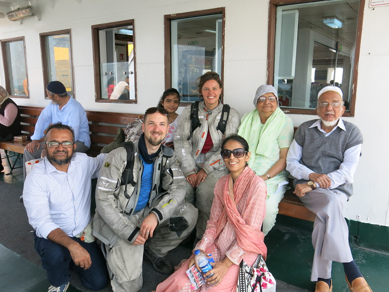 Posing with a Pakistani family on the ferry