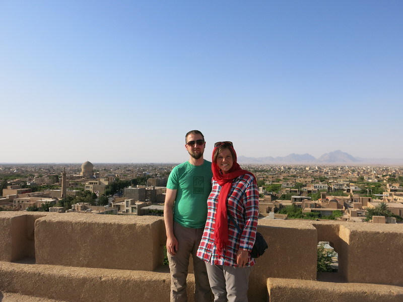 Posing on the roof of Meybod citadel