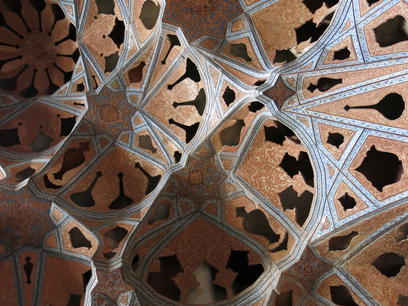 Close-up of the Music Room ceiling in Ali Qapu palace