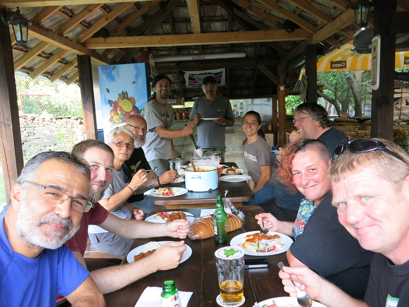 Enjoying a lovely meal at Motocamp Bulgaria