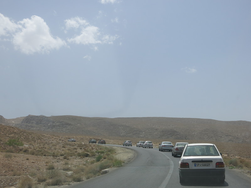 Traffic jam out of Yazd to escape the heat